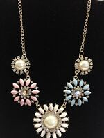 Costume Fashion Jewelry Multicolored Linked Floral Charms Rose Gold Tone Chain