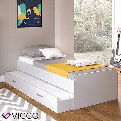 VICCO Kojenbett Enzo Jugendbett mit Gästeliege Funktionsbett in weiß 90x200 cm