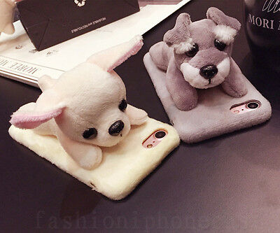 3D Cute Winter Warm Soft Furry Plush Dog Doll Case Cover for iPhone 6/6S/7 Plus
