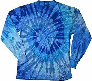 Blue-Jerry-Long-Sleeve-Tie-Dye-T-Shirt-Adult-S-3X-Cotton-Gildan-by-Colortone