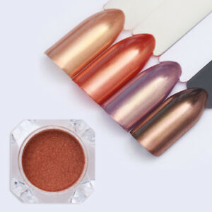 Image Is Loading 1g Rose Gold Nail Glitter Mirror Pearl Shiny