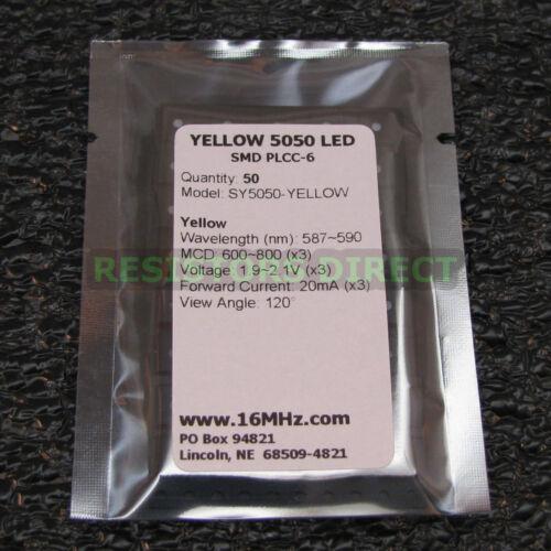 50x Ultra Bright Yellow 5050 SMD LED PLCC-6 3-Chip SMT 50pcs FAST US SELLER V40