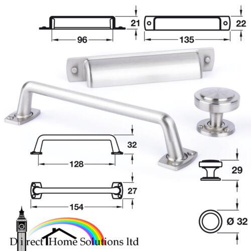 Hafele Rochdale Range Furniture Pull Handle Satin Nickel Fin Knob Cup Handle