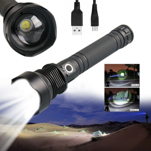 Tactical Zoom 10000 Lumens Most Powerful XHP70.2 LED Flashlight Lamp USB Torch
