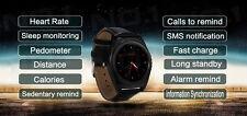 1.2 pulgadas pantalla táctil Redonda Correa De Cuerpo De Metal Negro Reloj Inteligente Teléfono Micro Sim