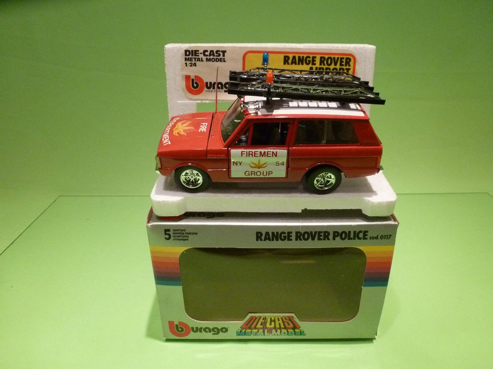 BBURAGO 0125 RANGE ROVER - AIRPORT  FIREMEN GROUP - 1 24 VERY GOOD COND. IN BOX