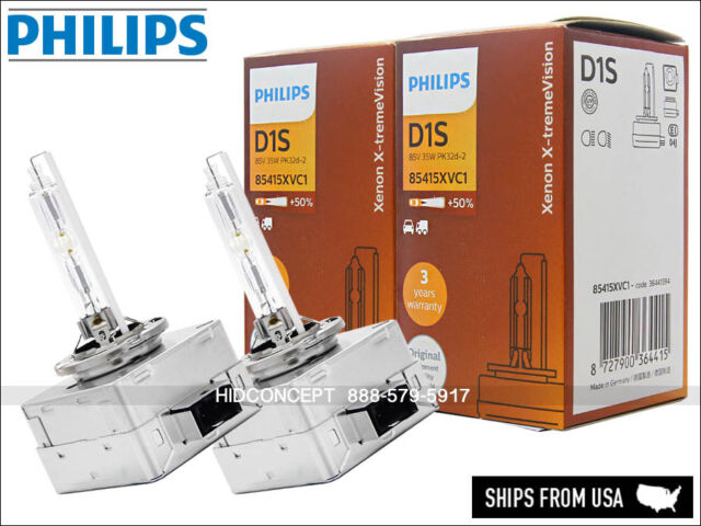 2x New! Authentic PHILIPS X-treme VISION +50% 5000K D1S HID XENON BULBS GERMANY