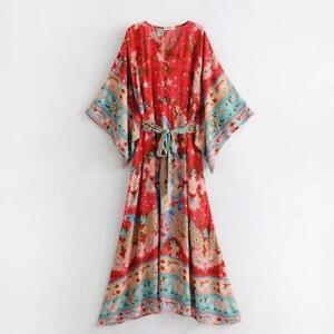 Women-Summer-Hippie-Deep-V-neck-Kimono-Sleeve-Floral-Print-Maxi-BOHO-DRESS-Lady