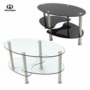 Clear Black Glass Oval Side Coffee Table Shelf Chrome Base Living Room Furniture Ebay