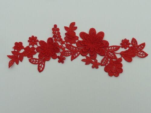 25cm by 7cm Hermoso Rojo 3d Flores el entorchado//Venecia Con Apliques En Rojo Ref AP7