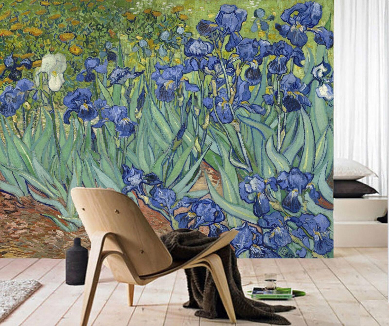 3D bluee bluemen, Malerei 375 Fototapeten Wandbild Bild Tapete Familie Kinder