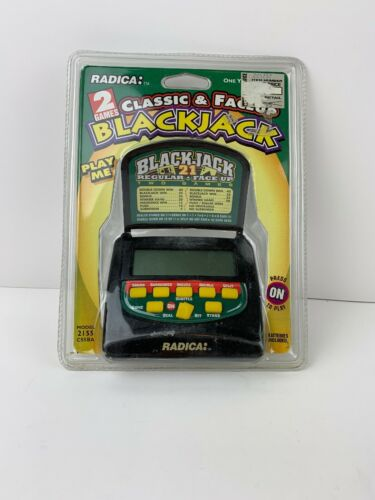 RADICA Electronic Handheld Blackjack 21 Regular Face Up Travel Pocket Game NEW