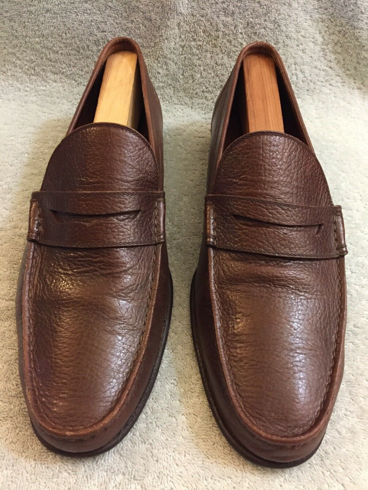 A.testoni Bologna Italia Marronee Loafers Made In  60039 Dimensione 9.5 M