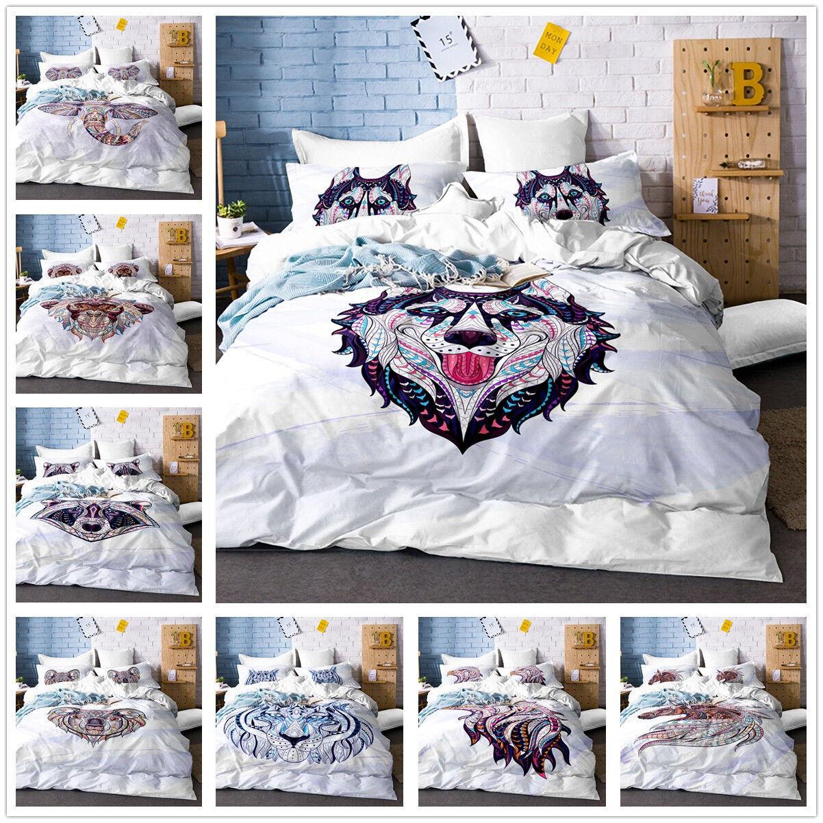 3D Anime Husky Raccoon Koala Owl Duvet Cover Quilt Cover Bedding Set Pillowcase