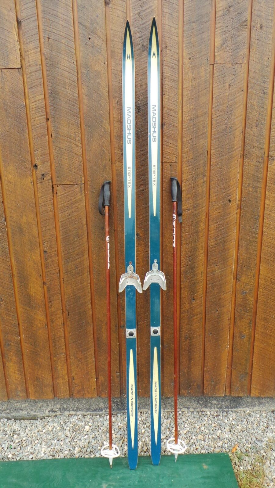 VINTAGE Wooden 83  Skis with blueE Finish + Signed MADSHUS Have Metal Bindings