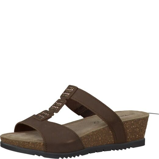 femmes Tamaris 27214-28 Mocca Nubuck Leather Jewelled Wedge Cushioned Mules