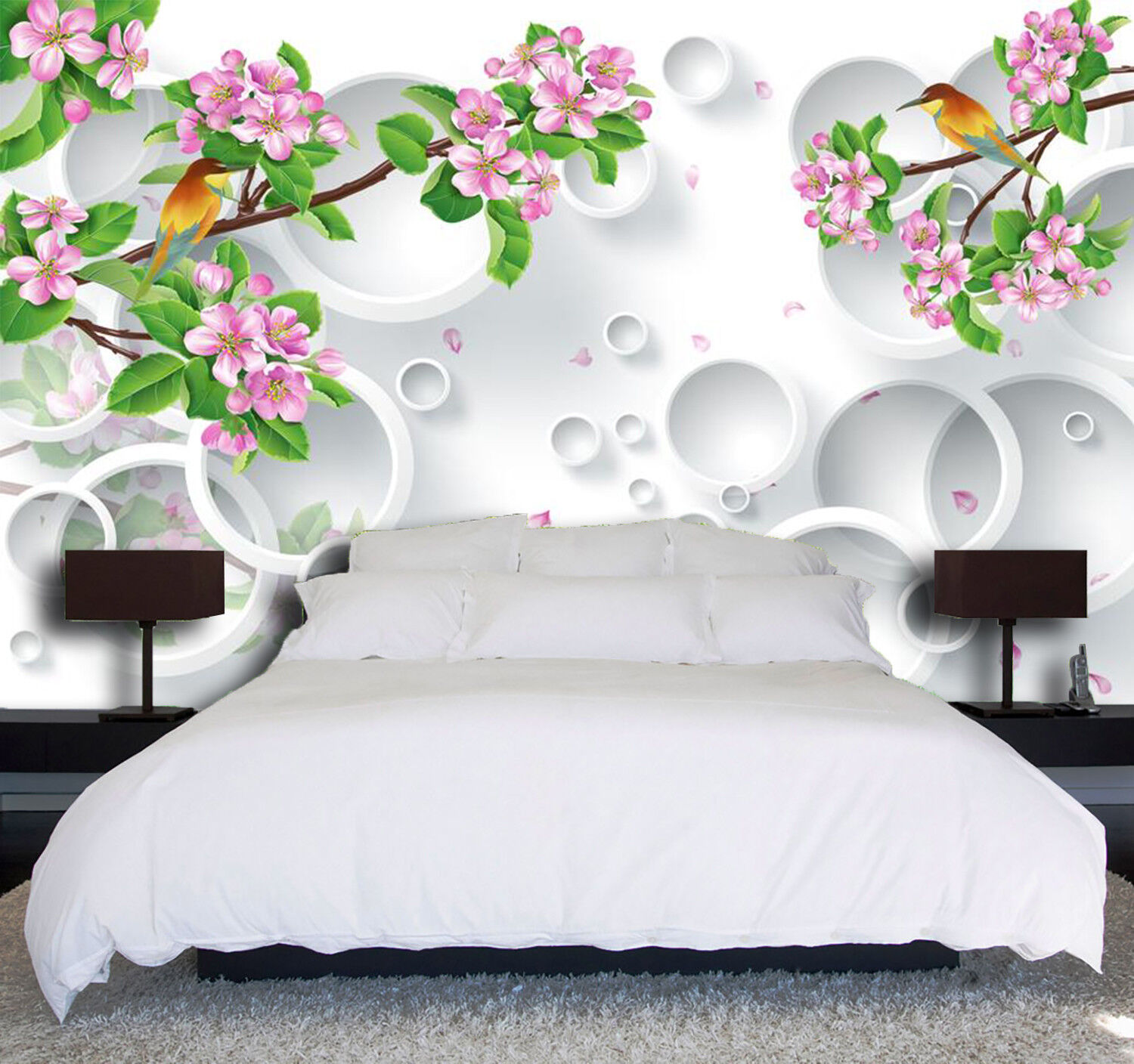 3D Bird Flower Ring 7 Wall Paper Murals Wall Print Wall Wallpaper Mural AU Carly