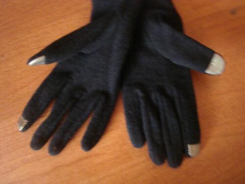 Large L Womens Black RUNWAY Echo Touch Screen Gloves I-Phone Wool Blend