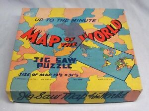 "Vintage WWII Era ""Up to the Minute"" Map of the World Jigsaw Puzzle - EC!"