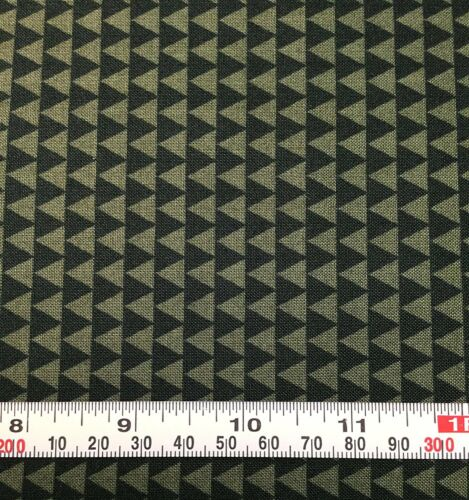 Cotton Quilting Fabric Triangles Olive WIld Field Windham