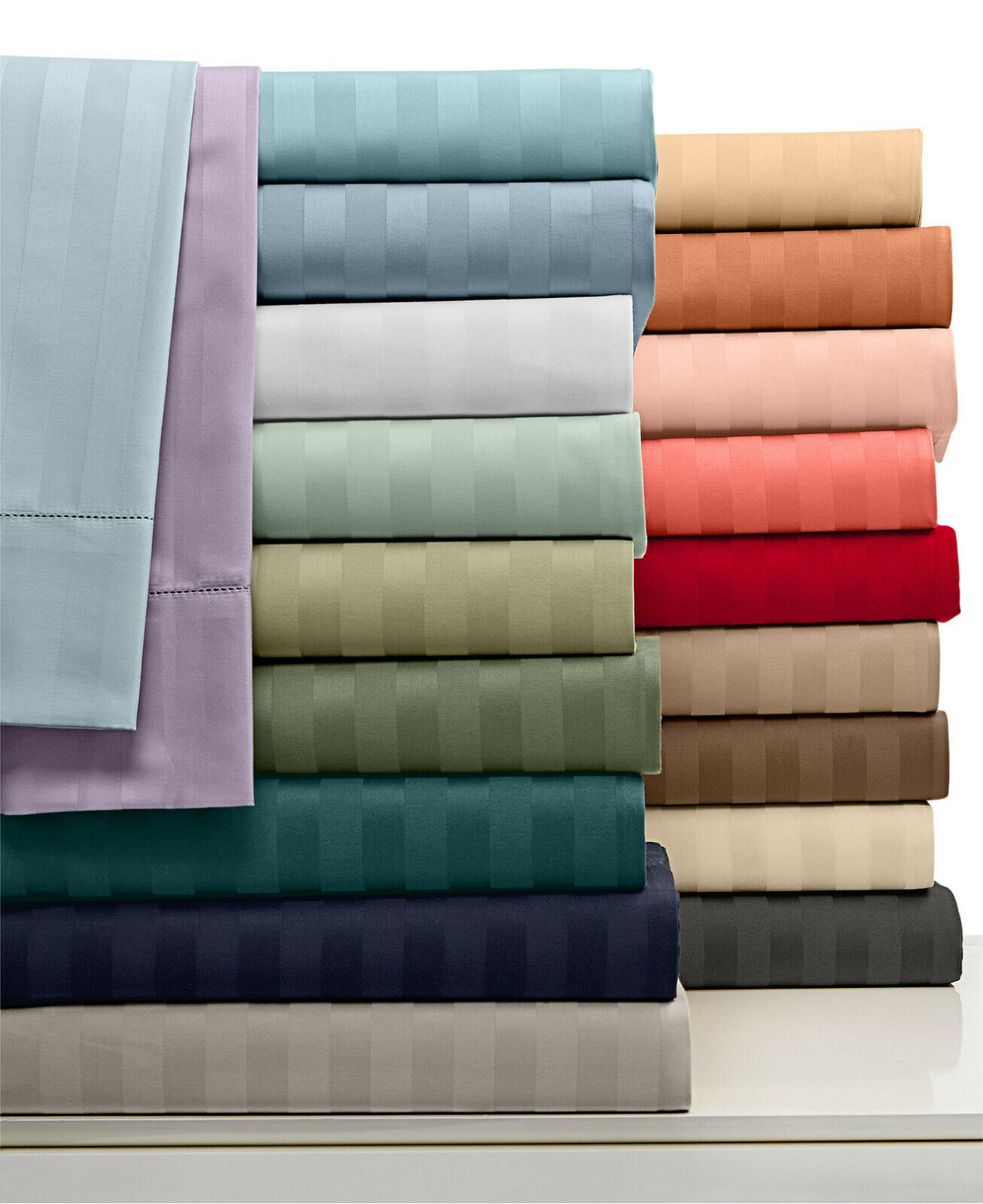 Excellent Quality 4 pc Sheet set 1000TC Egyptian Cotton Stripe Coloreeees King Dimensione