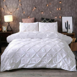 Blanco-Pintuck-duvet-cover-set-solo-Doble-King-size-bed-tirar-del-lecho-del