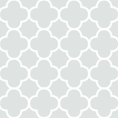 Stunning Quatrefoil Trellis Pattern Wallpaper in Mint & White - 1 ROLL IN STOCK