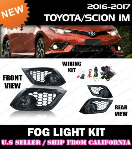 w// switch+wiring+covers complete FOG LIGHT KIT for TOYOTA 16-18 iM COROLLA