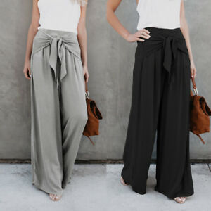 Stylish-Womens-Ladies-Palazzo-Flared-Wide-Leg-Long-Pants-leggings-Baggy-Trousers