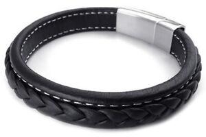Schmuck-Herren-Armband-Armreif-Leder-Edelstahl-Schwarz-G1S6-2I