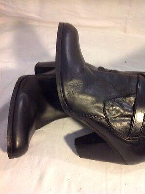 Office London Negro Knee High Cuero Botas Talla 40
