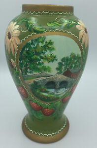 Handpainted Bridge/barn Vase Signed W.Leach