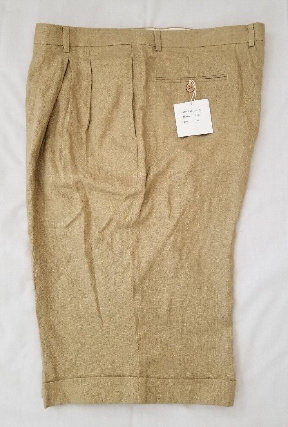 16249ae89 Size 40 Maximus 100% Linen Cuffed Casual Shorts Mens Beige nwrzwt19682- Shorts