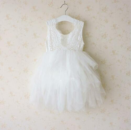 White Lace Flower Girl Dress Bridesmaid For Wedding Party First Communion Dress