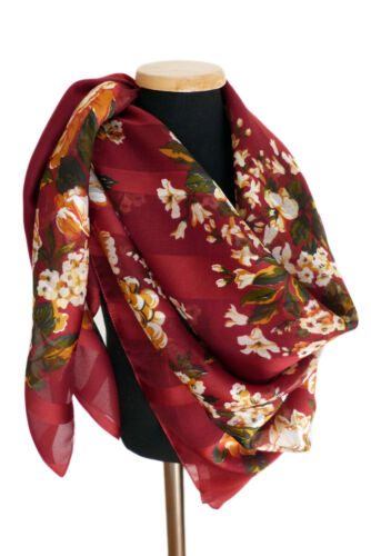 "Burgundy Organza Stripe Floral Polyester Scarf 34"""
