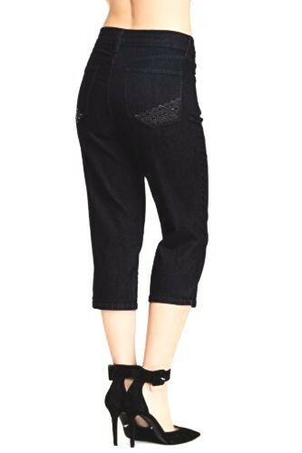 NYDJ Not Your Daughters Jeans Ariel dark enzyme crop pants sz 4 6 8 embellished