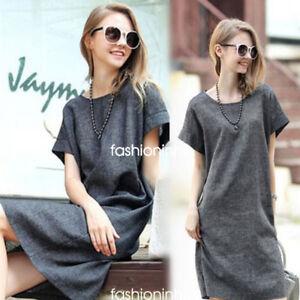 3XL-Summer-Women-Casual-Loose-Cotton-Linen-Dress-Short-Sleeve-Tunic-Shirt-Dress