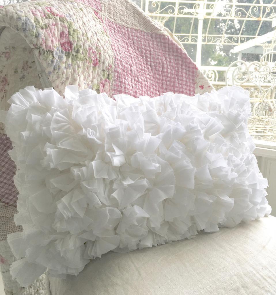 Large Shabby Chic Pillows : Shabby French Chic Country White Hampton Rag Plush Rectangle Cushion Toss Pillow eBay