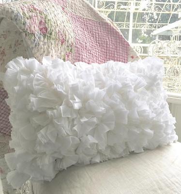 Shabby French Chic Country White Hampton Rag Plush Rectangle Cushion Toss Pillow