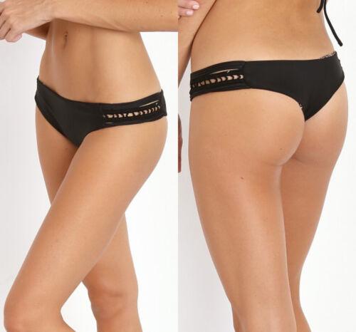 Acacia Swimwear Pikake Bottoms Black Size Medium B