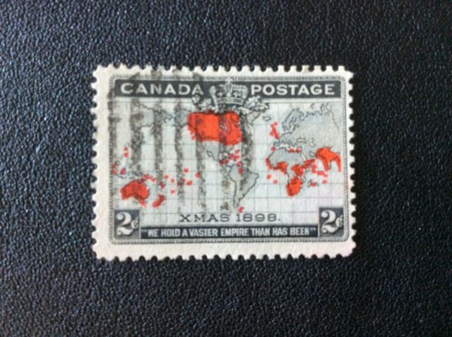 Xmas 1898, first Christmas Stamp, Map of British Empire, #85 Canada, used (4of5)