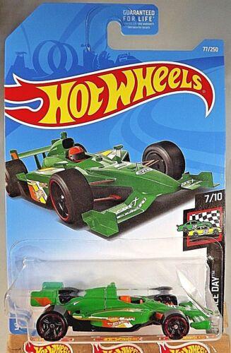 2019 Hot Wheels #77 HW Race Day 7//10 INDY 500 OVAL Green w//Black MC5 Spoke Wheel