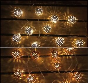 cheaper 66314 088d9 Details about Beautiful LED Copper/Silver 10 Ball Decorative Indoor String  Lights, Warm White