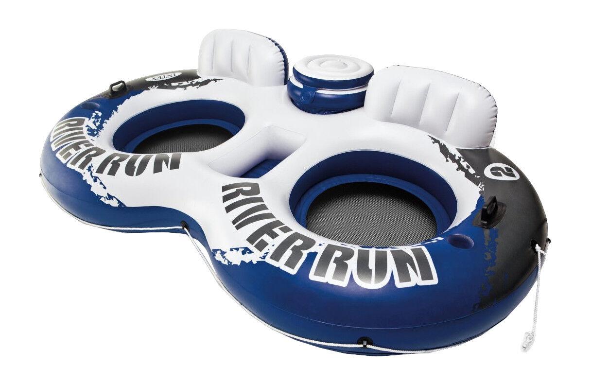 Intex River Run II Water 2 Person Tube River Lake Pool Float & Cooler 95.5  x 62