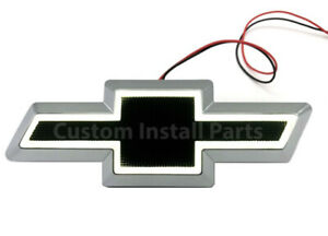 White LED BLACK Emblem Front Grille Chevy Bowtie Decal Replaces GM Part 10357171