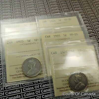 1925 Canada 5 Cent Coin ICCS VG-10  KEY DATE Multiple Available #coinsofcanada