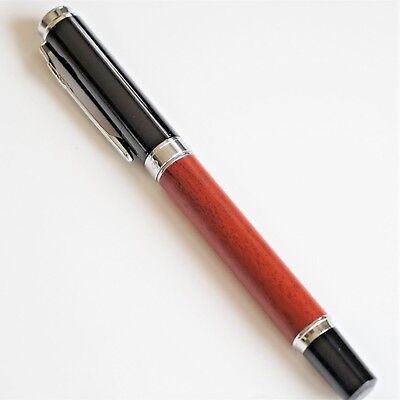 Jinhao #8802 Dark Wood//Black Fountain Pen FINE Nib Chrome Trim UK SOLD!