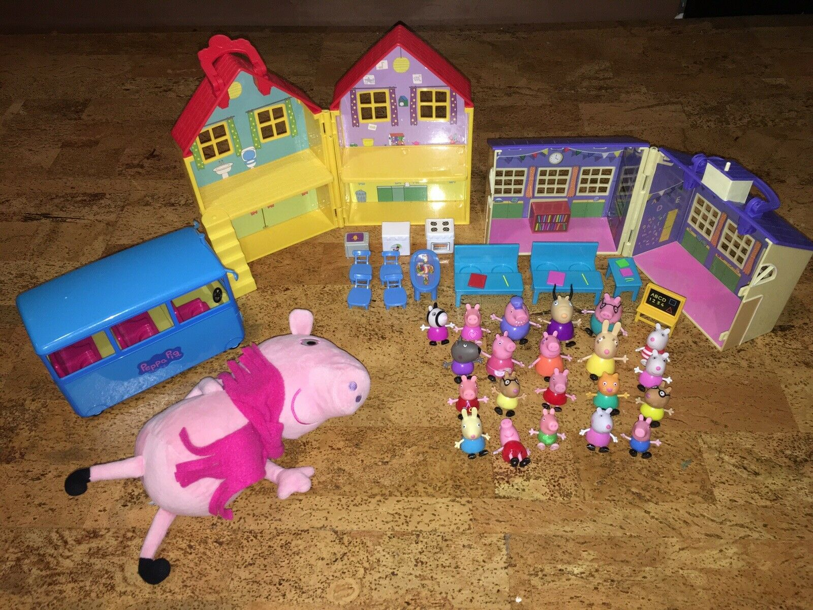 Huge Peppa Pig toy Lot Bus School House Stuffed Peppa