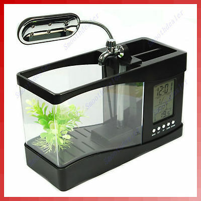 Mini LCD Desktop Fish Tank Aquarium Clock Timer USB/AA