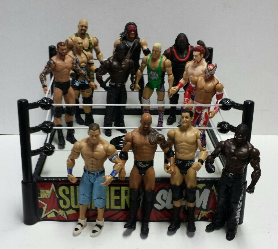 WWE SUMMER SLAM SPRING RING w  14 Mattel Action Figures - FREE SHIPPING